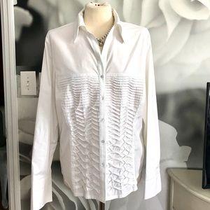 Dressbarn White tuxedo style buttons down